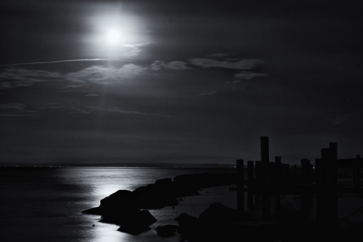 Our home port at The Station with a full moon.
