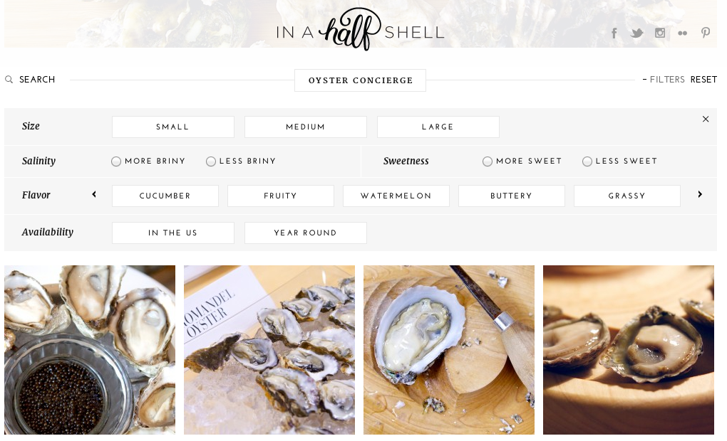 Oyster concierge filters from inahalfshell.com